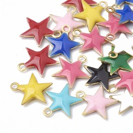 Brass Charms, with Enamelled Sequins, Unplated, Star