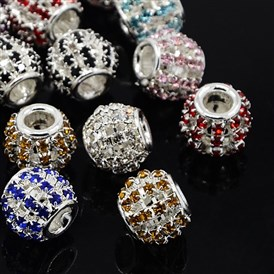 Brass Rhinestone European Beads, Large Hole Beads, Rondelle, Silver Metal Color, 12x10mm, Hole: 4mm