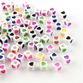 Opaque Acrylic European Beads, Large Hole Cube Beads, with Heart Pattern