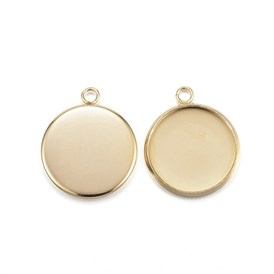 Vacuum Plating 304 Stainless Steel Pendant Cabochon Settings, Plain Edge Bezel Cups, Flat Round