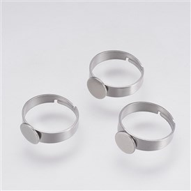 Adjustable 304 Stainless Steel Pad Ring Settings, Flat Round