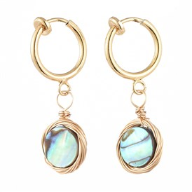 Natural Abalone Shell/Paua Shell Clip-on Hoop Earrings, with 316 Stainless Steel Clip-on Earrings Findings, Flat Round