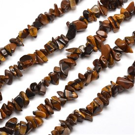 Natural Tiger Eye Chip Bead Strands, 5~8x5~8mm, Hole: 1mm; about 31.5""