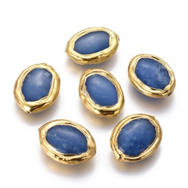Natural Agate Beads, with Golden Plated Brass Findings, Oval