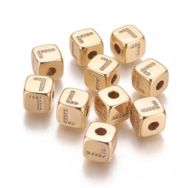 Brass Micro Pave Cubic Zirconia Beads, Real 18K Gold Plated, Long-Lasting Plated, Cube with Alphabet, Clear