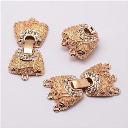 Alloy Rhinestone Watch Band Clasps, Fold Over Clasps, Trapezoid-1