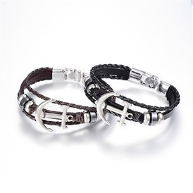 PU Leather Cord Multi-strand Bracelets, Non-magnetic Hematite, with Alloy Findings, Anchor