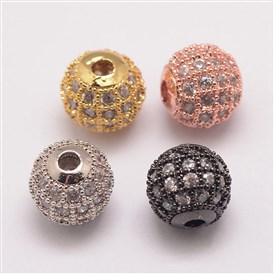 Brass Micro Pave Cubic Zirconia Beads, Round