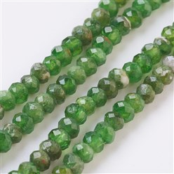 "Diopside Natural Diopsidel Beads Strands, Faceted, Rondelle, 3x2~2.5mm, Hole: 0.5mm; about 174pcs/strand, 15.3""(39cm)"