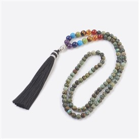 Chakra Jewelry, Natural+Synthetic Gemstone Buddha Pendant Necklaces, with Alloy Findings and Nylon Tassels, 108 Beads