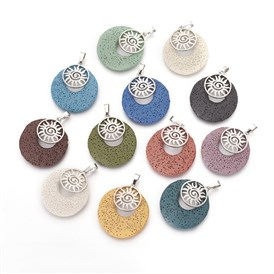 Natural Lava Pendants, with Alloy Findings, Dyed, Flat Round and Sun, Platinum