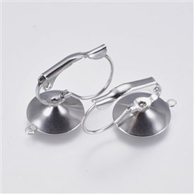 304 Stainless Steel Leverback Earring Settings, with Loop, Flat Round