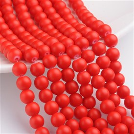 Rubber Glass Bead Strands, Round, Hole: 1mm~1.5mm
