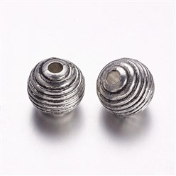 Antique Silver CCB Style Acrylic European Beads, Large Hole Beads, Round, Antique Silver, 19x17.5mm, Hole: 4.5mm
