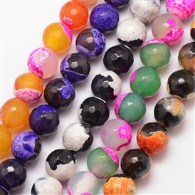Natural Fire Agate Bead Strands, Round, Faceted, Dyed & Heated, Grade A