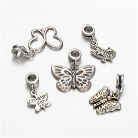 Mixed Tibetan Style Alloy  Butterfly European Dangle Beads, Large Hole Pendants, 24~33x13~25mm, Hole: 5mm