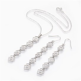 304 Stainless Steel Jewelry Sets, Pendant Necklaces & Earrings, with Brass Chain, Rhombus