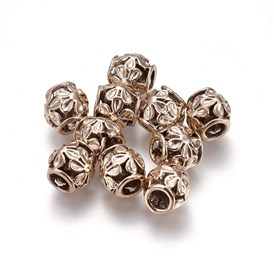 Alloy European Beads, Large Hole Beads, Drum with Flower