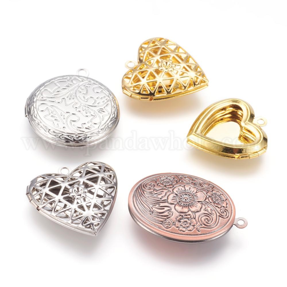 Wholesale Brass Locket Pendants, Photo Frame Charms for Necklaces ...