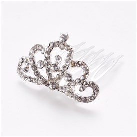 Rhinestone Hair Combs, with Iron Base, Bridal Tiaras For Wedding, Crown