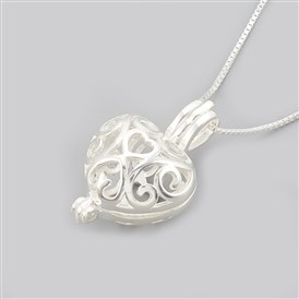 925 Sterling Silver Cage Pendant Necklaces, Carved 925, Heart