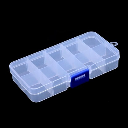 Plastic Bead Storage Containers, Removable 10 Compartments, Rectangle, 130x67x21.5mm, Hole: 5.5mm-1