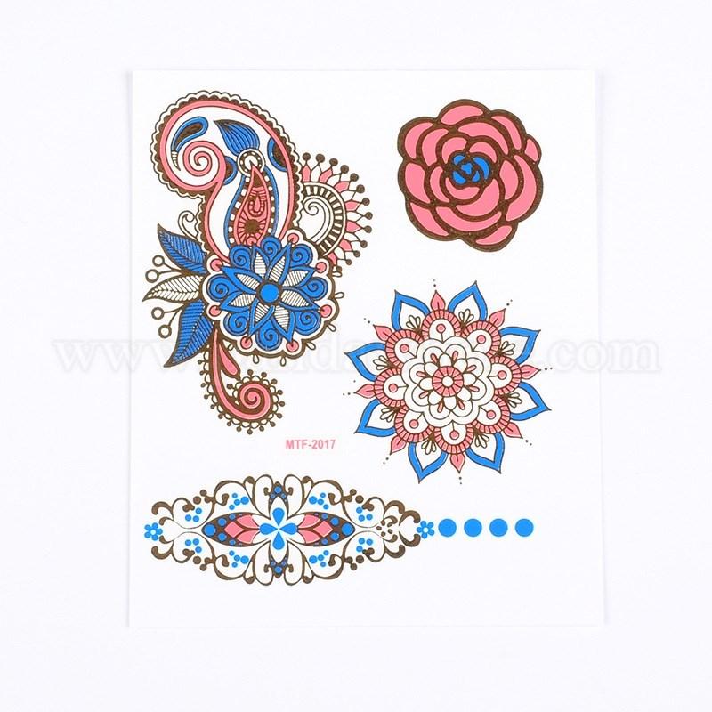 Flower print fake hair tattoos paper stickers 3584x2550mm 1