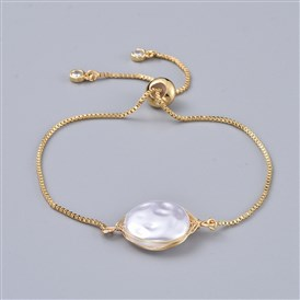 Adjustable Brass Slider Bracelets, Bolo Bracelets, with ABS Plastic Imitation Pearl Beads, Cubic Zirconia and Box Chains