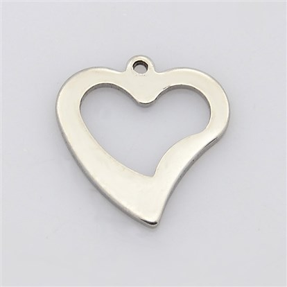 Heart 304 Stainless Steel Charms Pendants, 16x15x1mm, Hole: 1mm-1