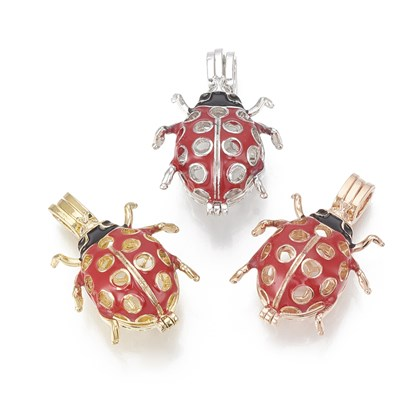 Alloy Enamel Diffuser Locket Pendants, with Micro Pave Cubic Zirconia, Cage Pendants, Ladybug, Red
