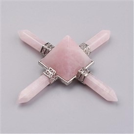 Natural Rose Quartz Beads, with Brass Findings, No Hole/Undrilled, Pyramid