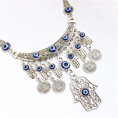 Alloy Bib Necklaces, with Resin Evil Eye, Hamsa Hand-1