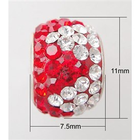 Austrian Crystal With Sterling Silver Single Core European Beads, Large Hole Beads, Rondelle, 11x7.5mm, Hole: 4.5mm