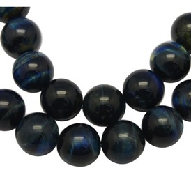 Gemstones Beads Strands, Dyed & Heated, Blue Tiger Eye , Round, Hole: 1mm