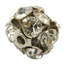 Brass Rhinestone Beads, Gunmetal, 6mm, hole: 1mm
