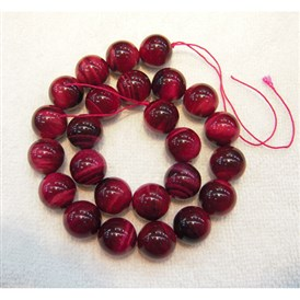 Gemstone Beads, Dyed & Heated, Rose Red Tiger Eye, Grade AA, Round