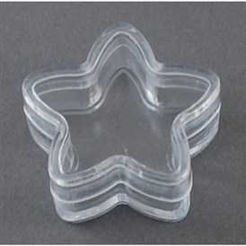 Plastic Bead Containers, Star, 35x15mm