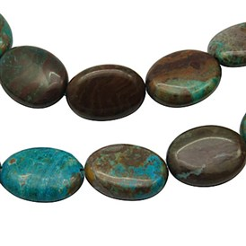 Natural Chrysocolla Beads Strands, Oval, Dyed & Heated, 15x20mm, Hole: 1mm