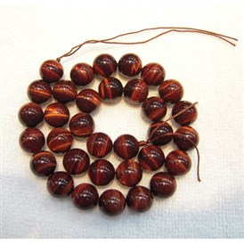 Natural Gemstone Beads, Dyed & Heated, Tiger Eye, Grade A, Red