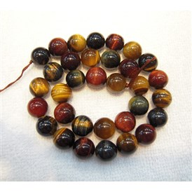 Gemstone Beads, Colorful Tiger Eye, Grade A, Round