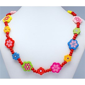 Colorful Wood Necklaces, Gifts For Children's Day, Lead Free, about 21 inches long