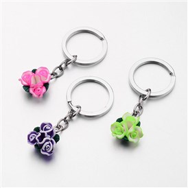 Iron Key Chain, with Handmade Polymer Clay Flower, 77mm
