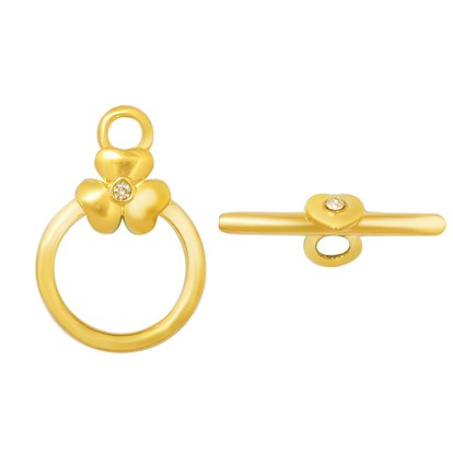 316 Stainless Steel Toggle Clasps, with Rhinestone, Flower, Golden-1