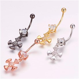 Piercing Jewelry, Brass Micro Pave Cubic Zirconia Belly Rings, with 304 Stainless Steel Pins, Cross