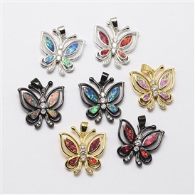 Brass Micro Pave Cubic Zirconia Pendants, with Synthetic Opal, Butterfly, Cadmium Free & Lead Free