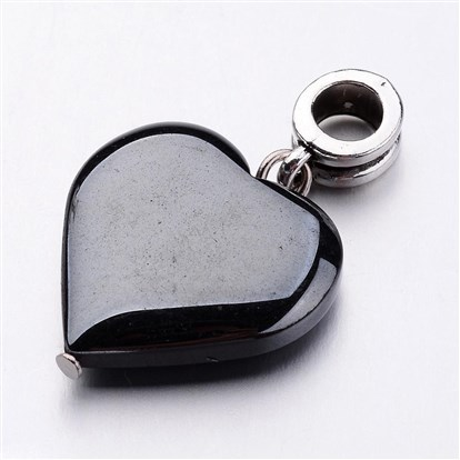 Non-magnetic Synthetic Hematite European Dangle Beads, Heart, with Alloy Hangers-1