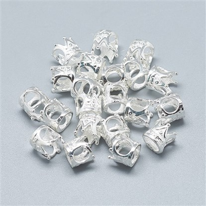 925 Sterling Silver European Beads, Carved 925, Large Hole Beads, Crown-1