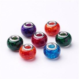 Spray Painted Glass European Beads, with Silver Brass Core, Large Hole Beads, Rondelle, 14~15x11mm, Hole: 4.5~5mm