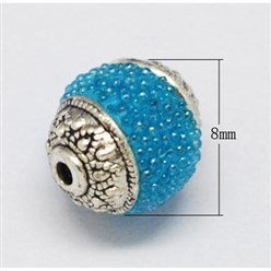 DeepSkyBlue Handmade Indonesia Beads, with Brass Core, Round, DeepSkyBlue, Size: about 8mm in diameter, 9mm thick, hole: 1mm