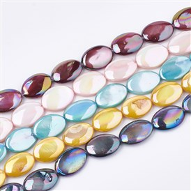AB Color Freshwater Shell Beads Strands, Dyed, Oval